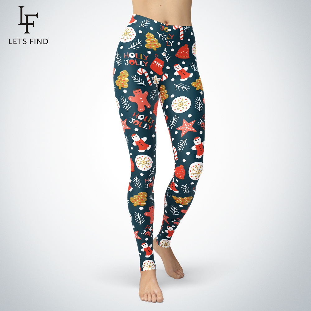 2019 New Christmas Leggings Women Winter Warm Pants High Elastic And Comfortable Plus Szie Gingerbread Man Printed Legging