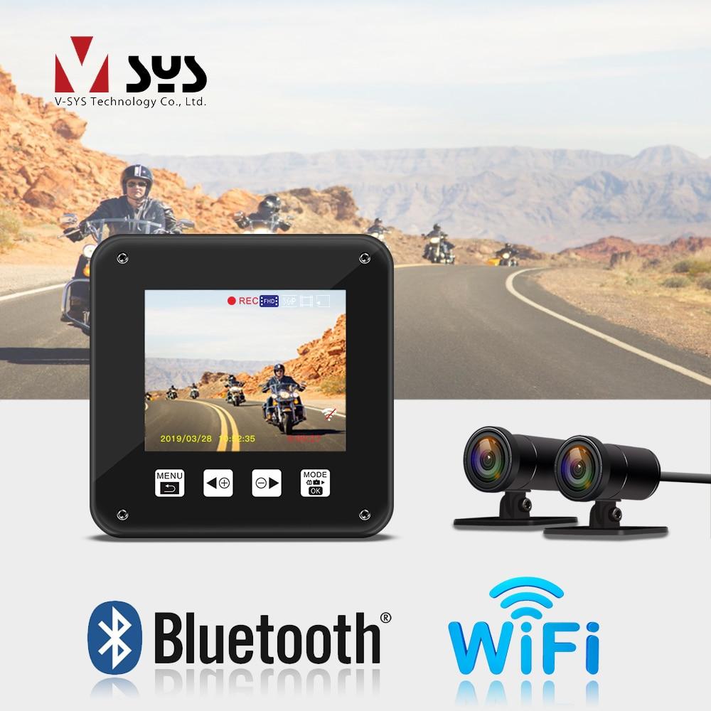 SYS T2 Atualização M1 WiFi Dual Camera DVR Motocicleta Frente Traço Cam 1080 p + 720 p retrovisor de Moto câmera Gravador de Condução de Moto