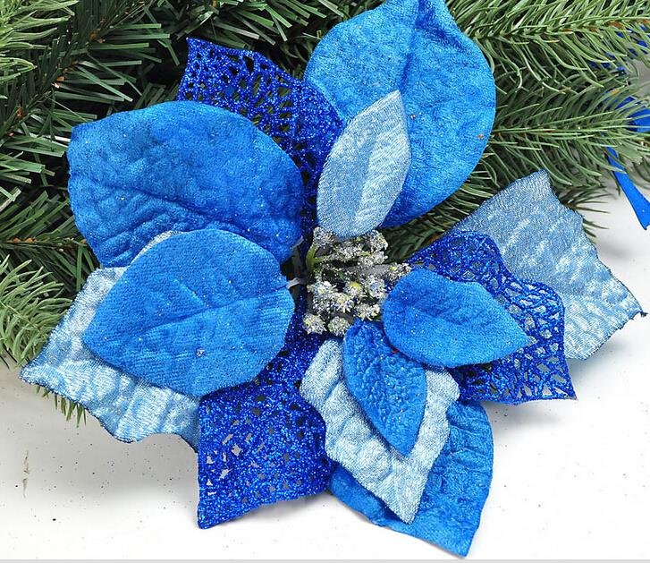 1pcs christmas decoration supplies sky blue silver flower christmas tree ornament home garden evening party use 3colors in christmas from home garden on - Blue And Silver Christmas