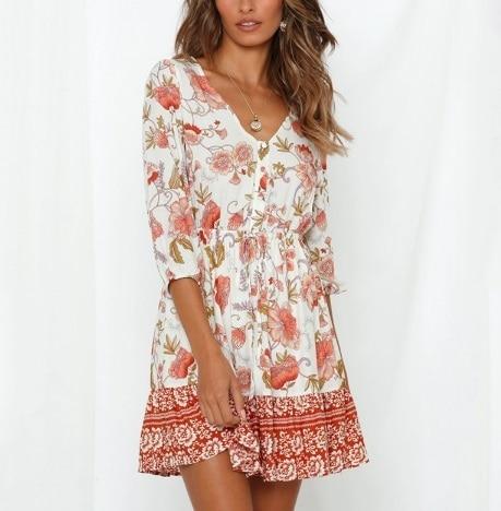 Summer Boho Mini Dress V...