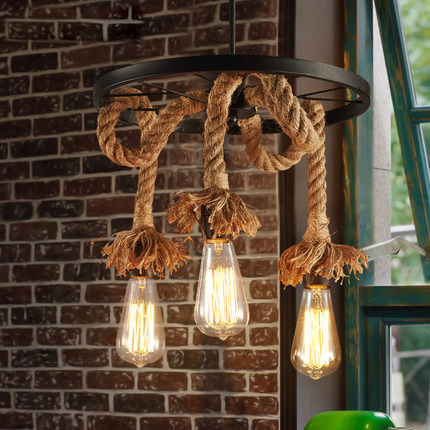 Loft Suspension Luminaire Rural Vintage Pendant Lamp Creative Hemp Rope Edison Bulb Light Fixture Restaurant Art Deco Lighting loft antique retro spider chandelier art black diy e27 vintage adjustable edison bulb pendant lamp haning fixture lighting