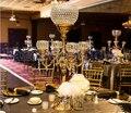 88 см высокий хрустальный Золотой Подсвечник подставка для цветов стол центральный Свадебный декор