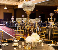 88cm Tall crystal Gold candelabras candle holder flower stand Table centerpiece Wedding Decoration