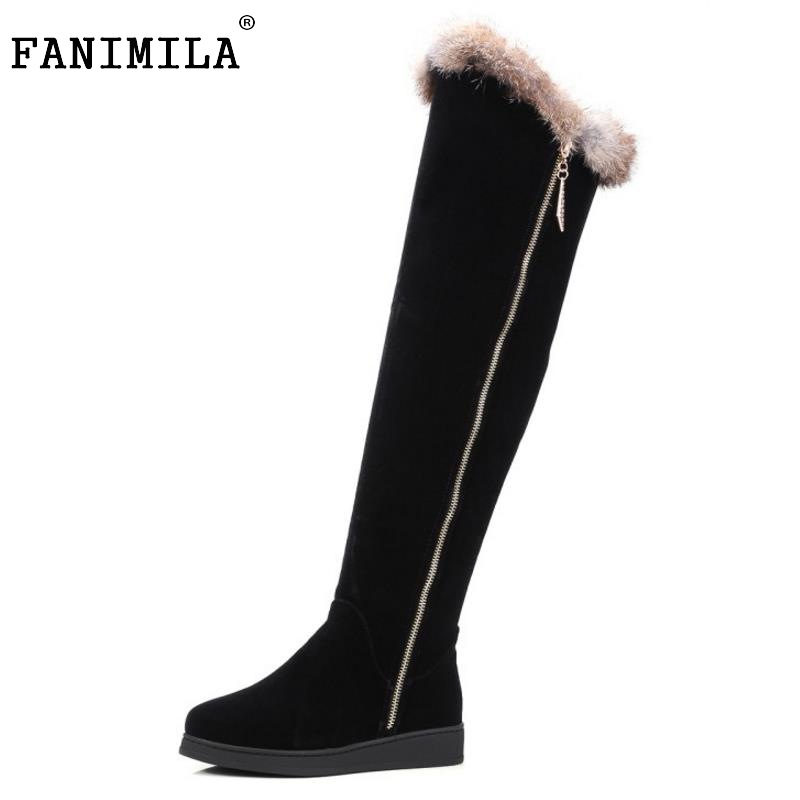 Women Round Toe Flat Over Knee Boots Woman Suede Leather Long Bootines Mujer Ladies Warm Fur Winter Shoes Footwear Size 34-43 karinluna women half knee snow boots rubber sole round toe platform warm fur shoes winter ladies footwear bootas mujer