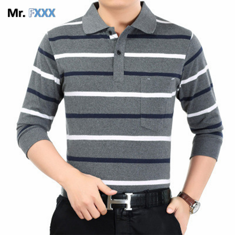 Stripe Polo Men 2017 Spring Brand Clothing Cotton Long Sleeve polo top Bottom Turn Down Collar Tops Striped Polo Shirts for Men