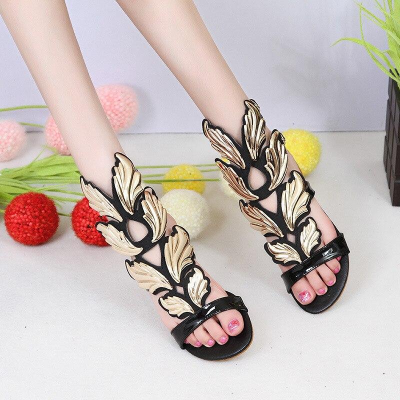 Moraima Snc/2019 г. новые женские сандалии с большими крыльями для девушек, для свиданий, на плоской подошве, для отдыха, пляжные женские сандалии гладиаторы, удобная обувь, сандалии - 2