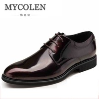 MYCOLEN 2018 Handmade Designer Luxury Patent Leather Casual Party Wedding Brand Male Dress Genuine Leather Mens Derby Shoes