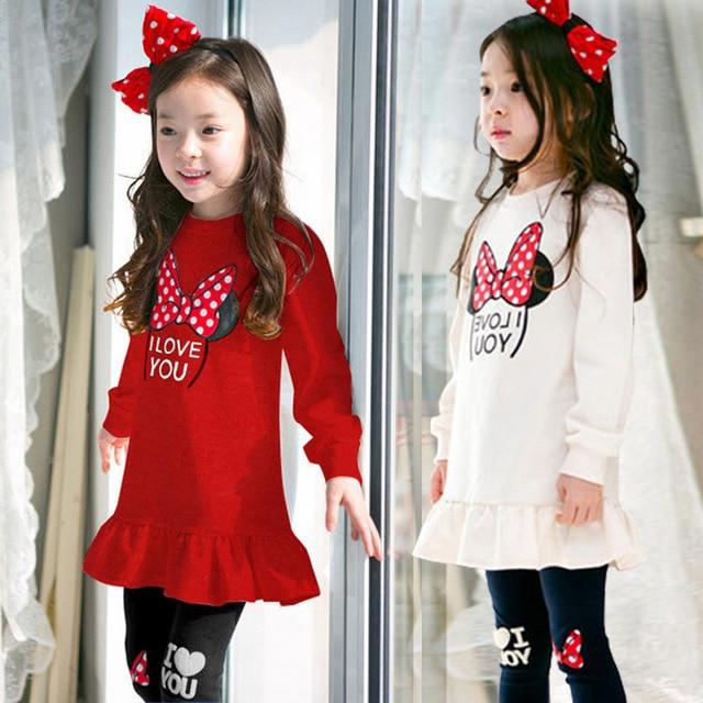5000f4f4c1 2018 Conjuntos de Roupas Meninas Primavera outono crianças Traje Roupas  terno Duas peças Minnie vestido de