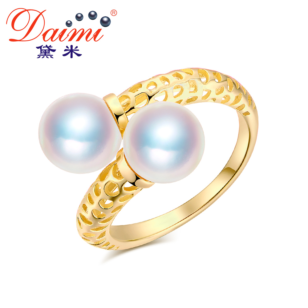 DAIMI 925 Silver Ring 8-8.5mm Double Pearl Ring Two Pearls Prefectly Round Akoya Pearl Ring Gift Jewelry pearl beaded ring round neck tee