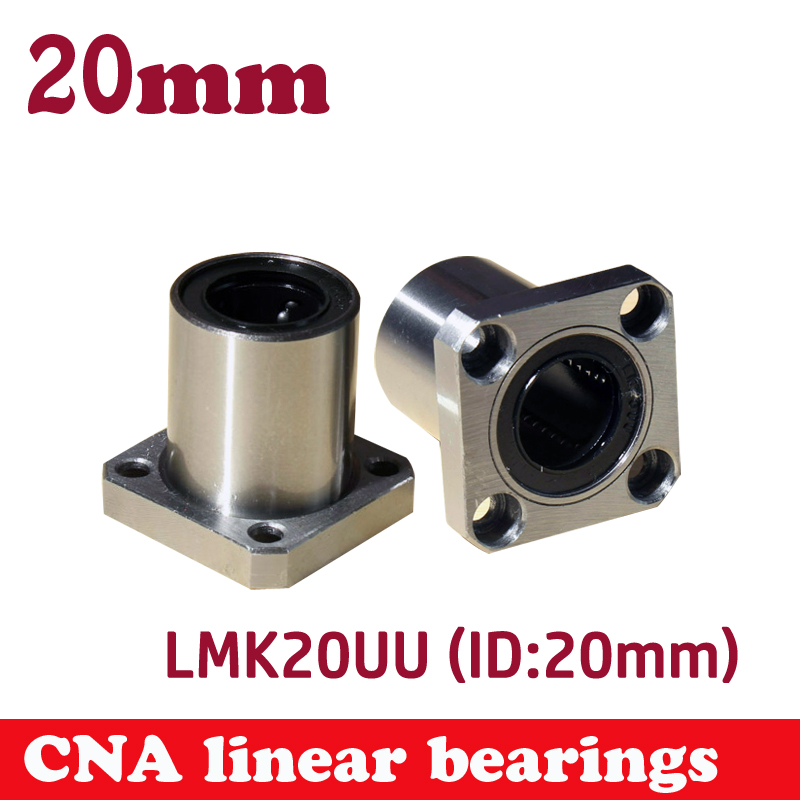 LMK20UU LMK20 20mm round flange linear ball bearing bushing for 20mm linear shaft guide rail rod round shaft cnc parts genuine ud engine parts fd46 fd46t main crankshaft bearing con rod bearing connecting rod bushing