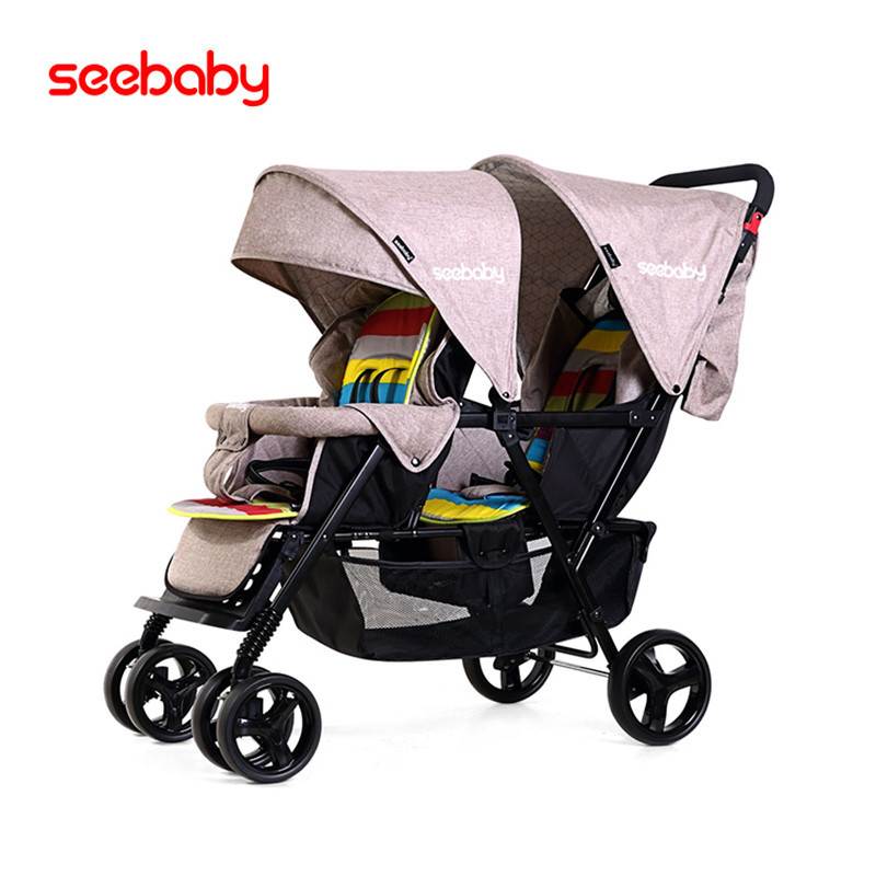 high landscape,twin baby stroller, front and rear seats,can lie down and can sit and easy to fold free shipping baibos bai twin landscape baby stroller double front and rear can lie sit