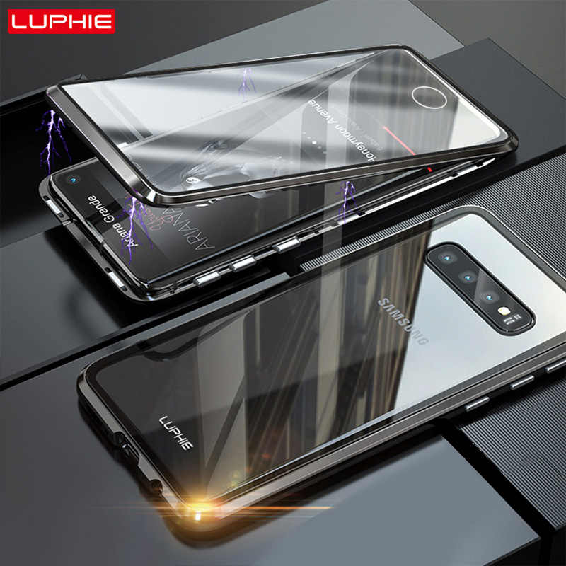 LUPHIE 360 Degree Full Magnetic Case For Galaxy S10 E Front Back Glass Case Cover For Samsung S10 S9 S8 PLUS Note9 8 Magnet Case