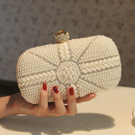 White Ivory Black Beading Bag Women S Handbag Evening Day Clutch Bridal Wedding Purse Party Handle In Top Bags From Luggage On