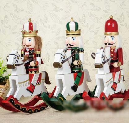 D332 30CM handmade rocking horse soldier nutcracker puppet king creative doll toy,hand-painted children toy gift 3pcs/lot ht025 free shipping movable doll puppets 13cm hardcover box painted walnut wooden nutcracker children christmas toy 2pcs lot