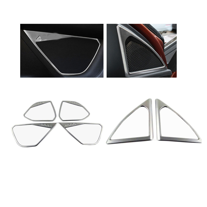 Car Door Speaker Ring Decoration Car Door Speaker Net Ring Cover Trims for New <font><b>Peugeot</b></font> <font><b>4008</b></font> <font><b>2016</b></font> 2017 image