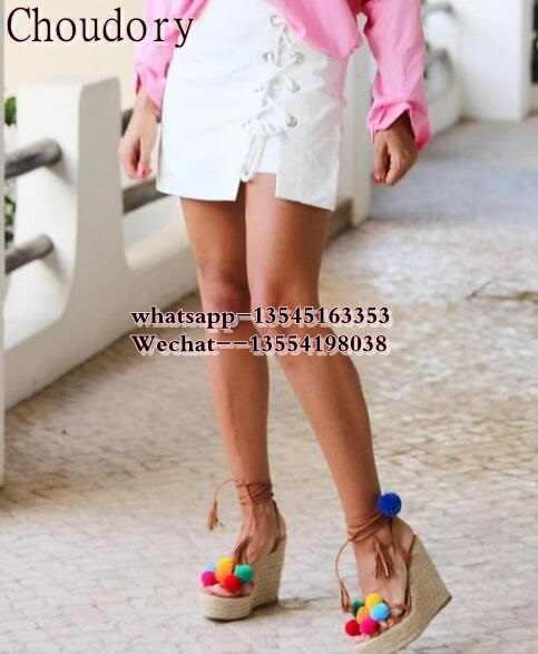 Luxury Brand Colorful Pom Pom Sandals