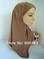 m1510 Solid color cotton two piece fashion muslim hijab islamic hijab wholesale Classic styles Prayer Hijabs