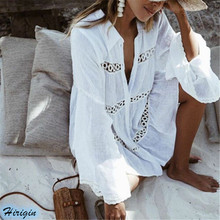 Summer Women Casual Beach White Cove Up HOT Long Sleeve Turn-down Collar Loose Cover Tops