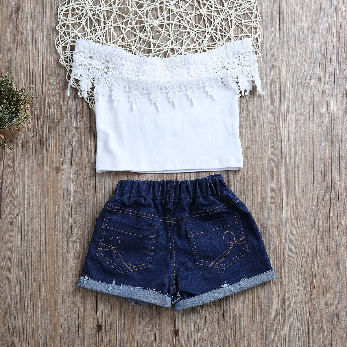 Toddler Kids Baby Girl Lace T-shirt Tops+Demin Shorts Pants Clothes Set Outfits