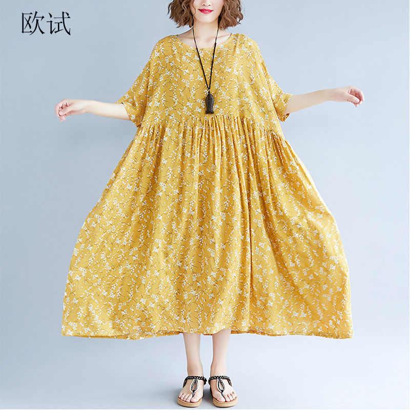 2019 Summer Fashion Floral Dress Women Cotton Linen Printed Plus Size  Dresses Casual Loose Long Dress 14b287ba14e3