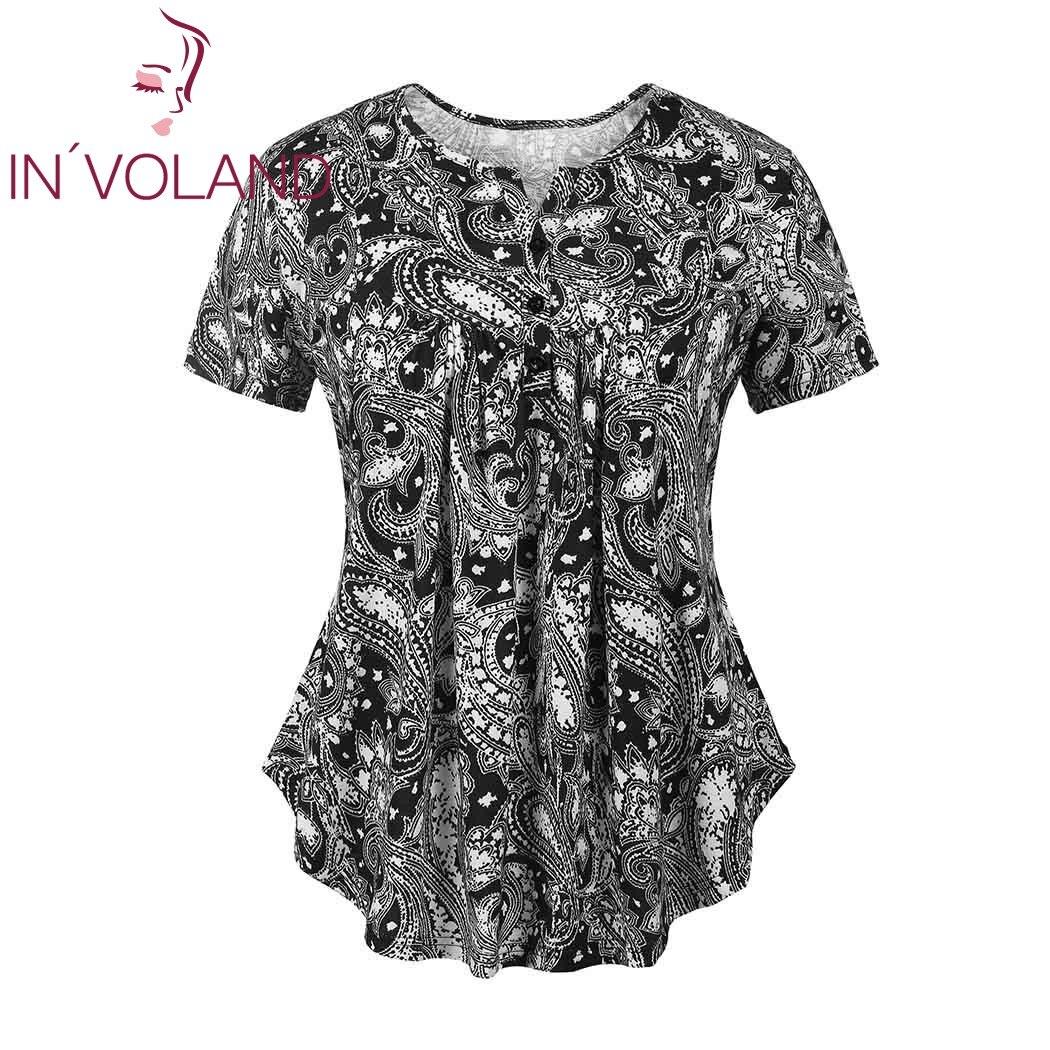 IN'VOLAND Pleine Taille Femmes T-Shirt Tops XL-5XL Vintage Imprimé floral Ruché Manches Courtes Tunique Pulls T-shirts T-shirt Grande Taille