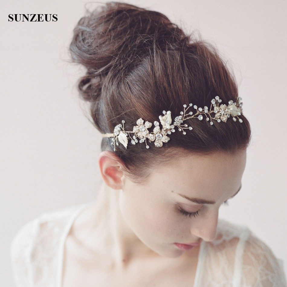 Crystal Bridal Hair Sash Wedding Headband for Brides Gold/Silver Head Chain Accessory SQ0180