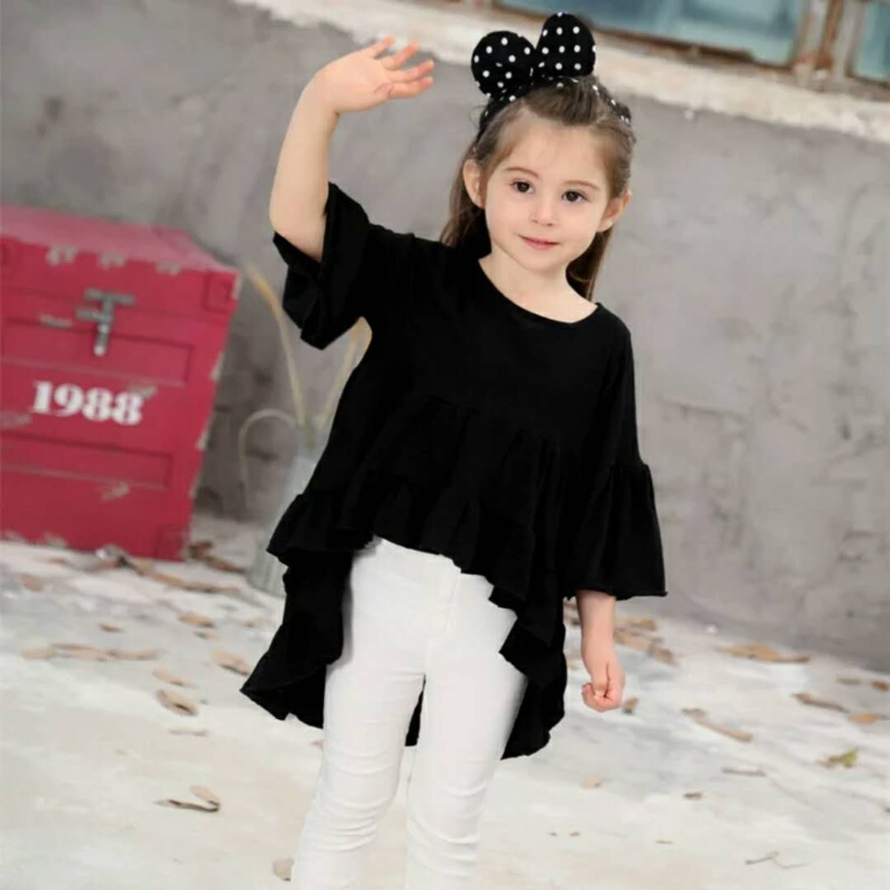 3a498fb22b561 US $6.89 25% OFF|Cotton Toddler Kids Baby Girls Kids Children Outfits Dress  Clothes for 2 8 Years White Black Red Flare Sleeve Party Tutu Dresses-in ...