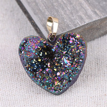 Heart Natural Stone Agates Crystal Pendant Necklace Charms Pendants For Jewelry Making Fashion Gift Free Shipping