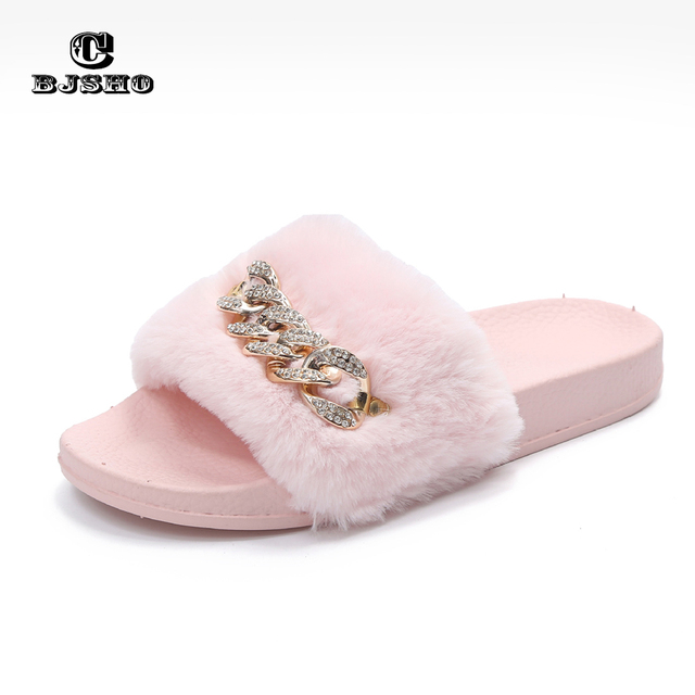 CBJSHO Fluffy Fur Slippers Open Toe Soft Indoor Home Slippers Women Shoe  Slip On Flat with Comfortable Warm Slippers Shoes Woman 1d1d9a49928e