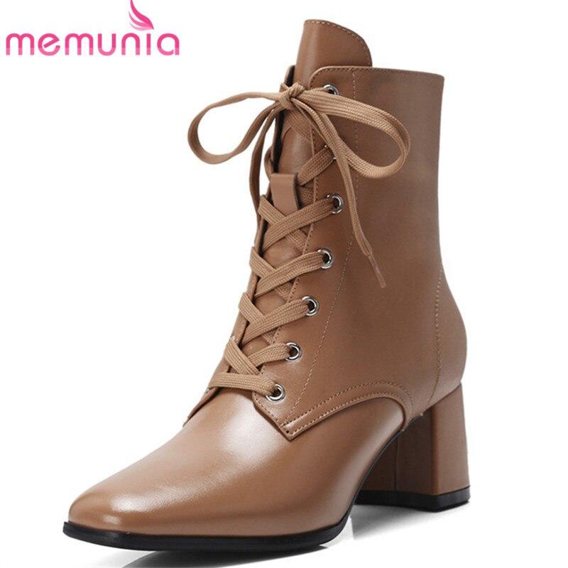 786a171473 Invierno Zipper Cuadrado Nueva negro Up 2018 Zapatos Mujer Alto Toe Vestido  Otoño Llegada Brown Lace Tacón Memunia Botas ...