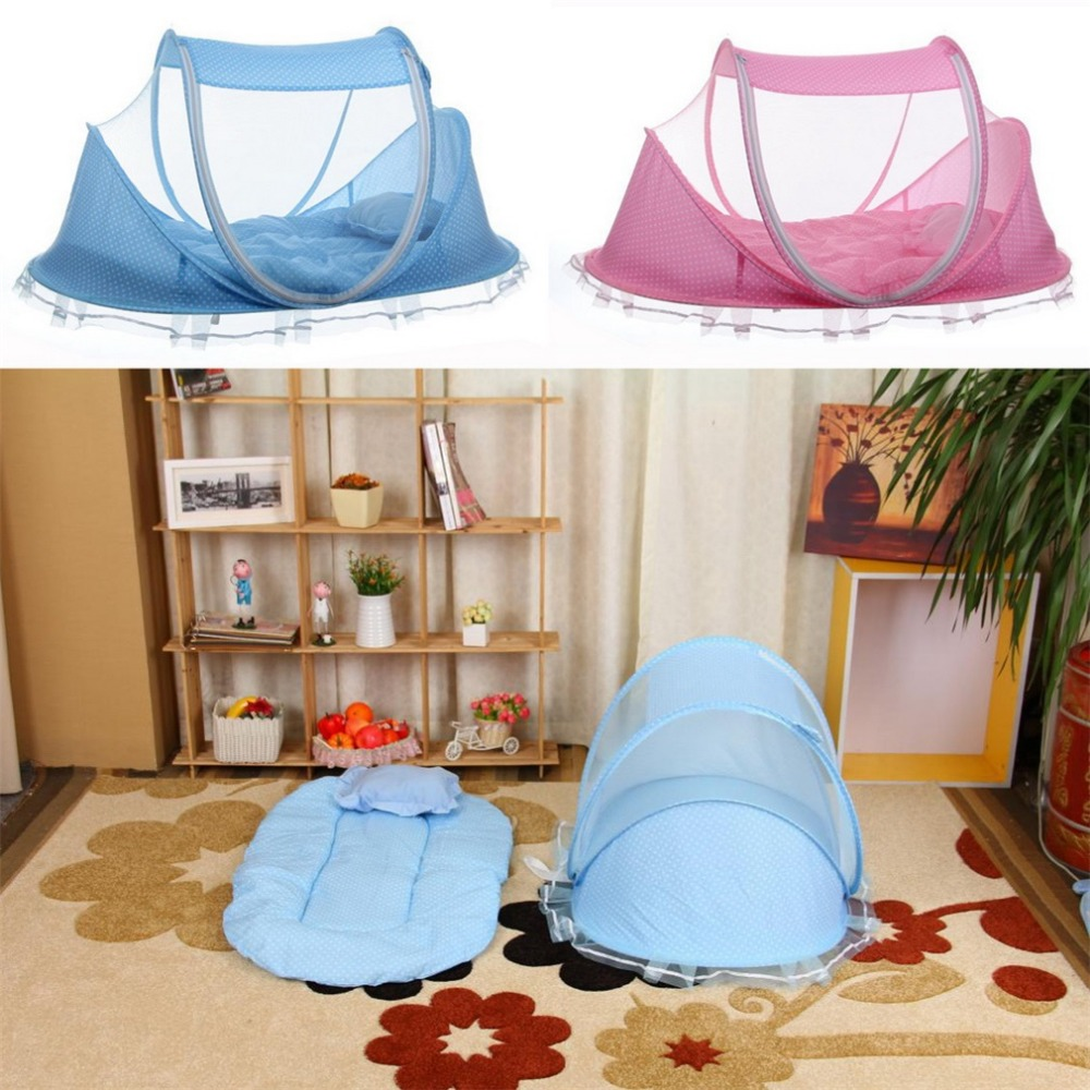Baby crib youth bed - Cute Baby Crib 4pcs Portable Type Comfortable Babies Pad With Sealed Mosquito Net Kids Infant Bed