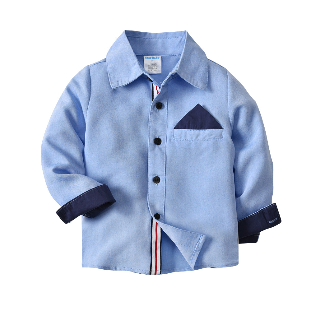 Boy's New Design Button-Down Collar Blue Brife Style Casual Shirts Streetwear Spring and Autumn Dress Cotton Shirts