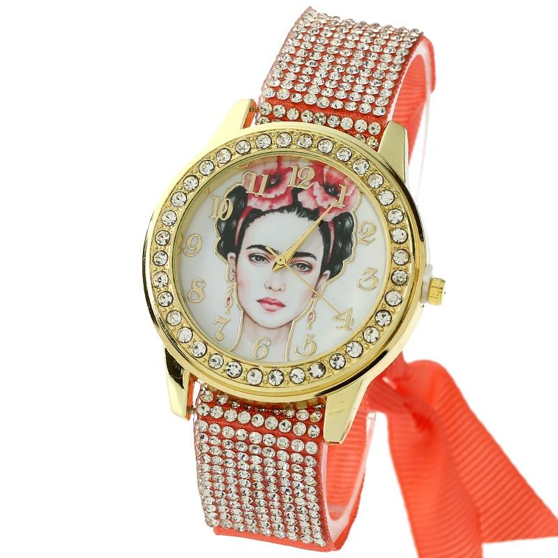 Gnova Platinum Women Watch Vintage Mexican White Face Frida Fashion Wristwatch Rhinestone Lace Style Golden Dial quartz clock