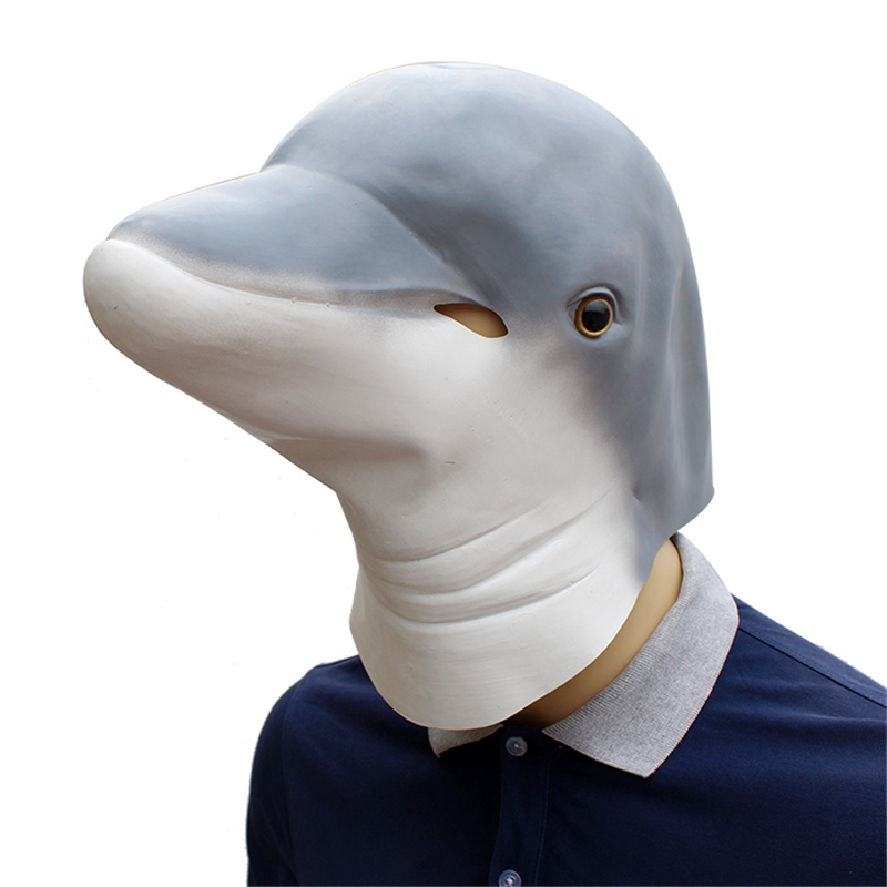 dolphin Funny Latex Unisex Movie Cosplay Anime costume Prop Adult Animal Party Mask for Halloween