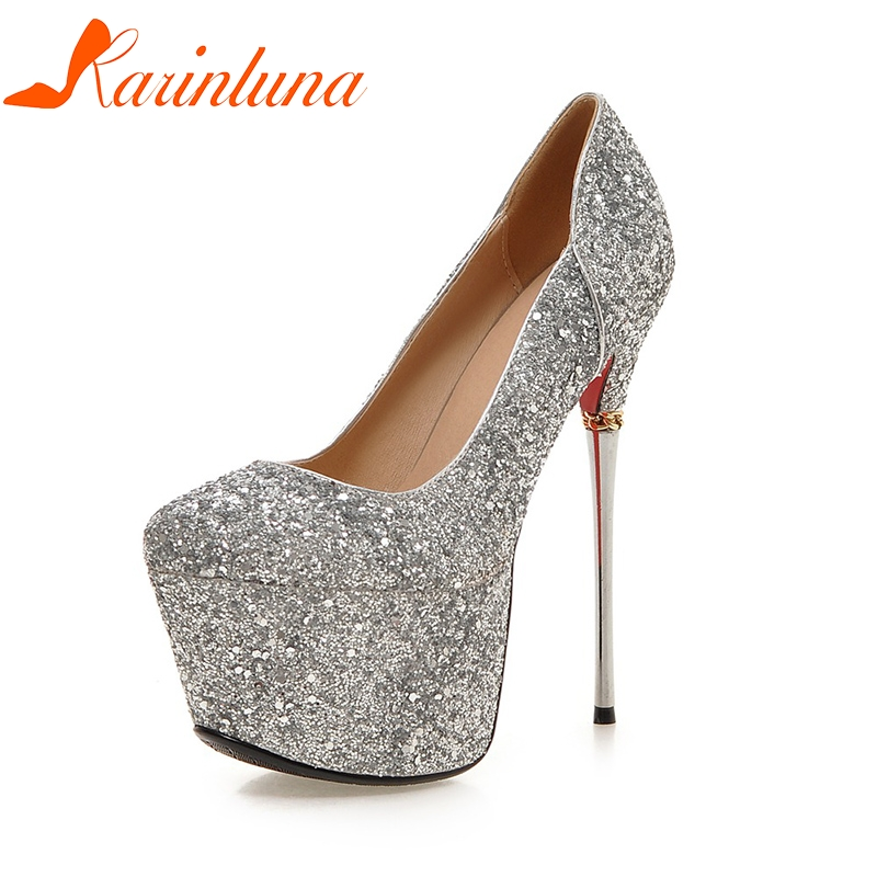 KARINLUNA Big Size 32-43 Spring Summer Party Woman Shoes Women Sexy 16cm Thin High Heels Bling Upper Bride Pumps Shoes