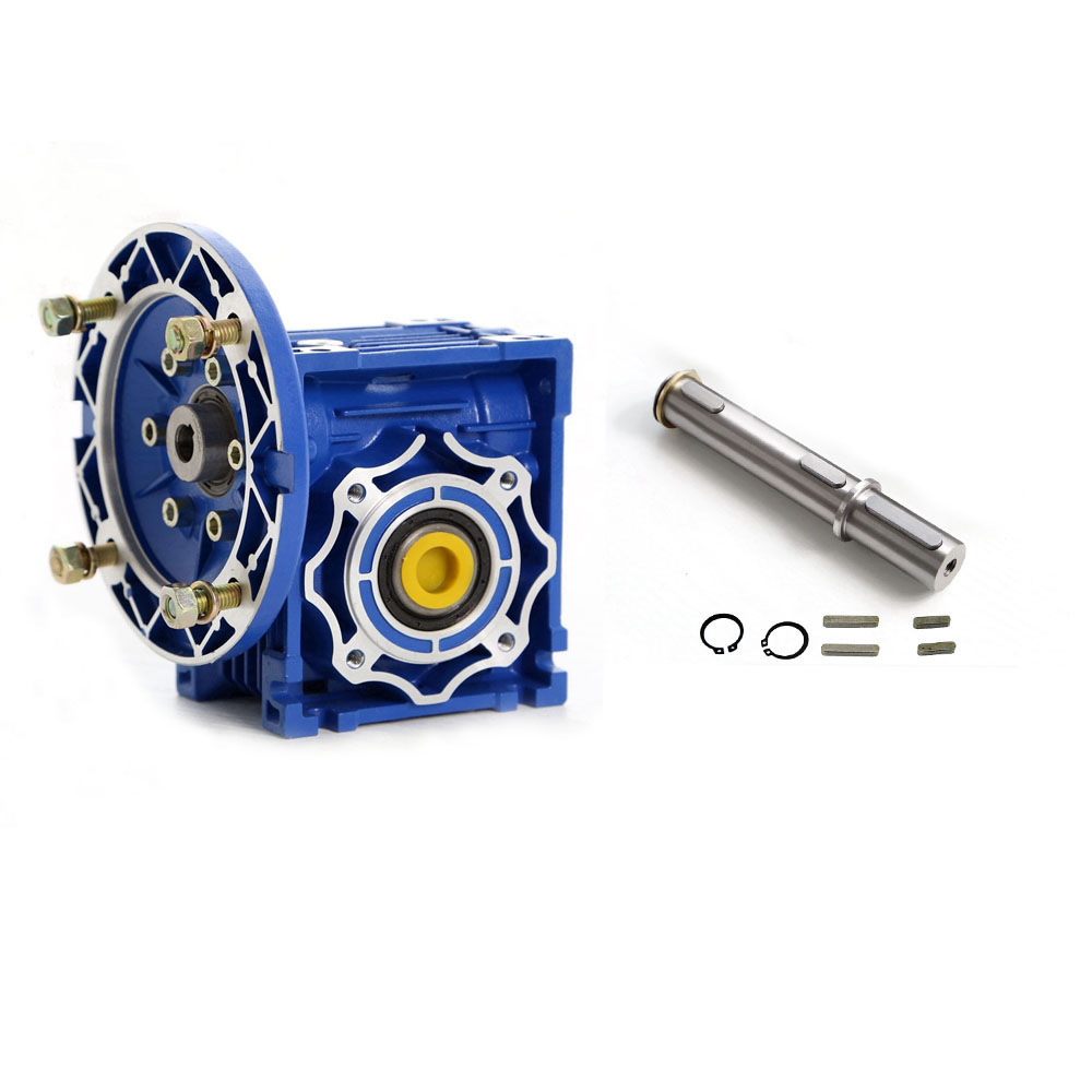 NMRV050 10:1 Worm Gear Reducer 25mm Output Shaft for 3 Phase 380v or Single/2 Phase 220v 4 Pole 2400RPM 550w Asynchronous Motor