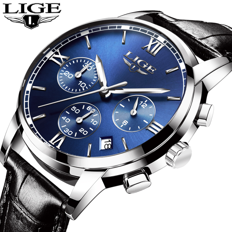 <font><b>LIGE</b></font> Mens Watches Fashion Business Top Luxury Brand leather Watch men Military sports Waterproof quartz Watch Relogio Masculino image
