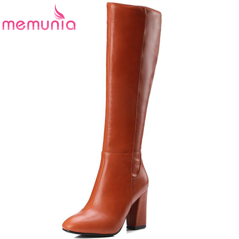 MEMUNIA 2017 Autumn new arrive long boots for women solid zip knee high boots large size 34-43 fashion high heels boots miniland увлажнитель ионизатор воздуха miniland humiplus advanced