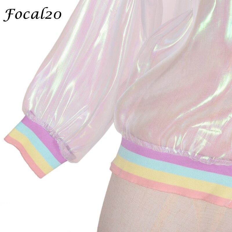 Focal20 Streetwear Rainbow Color Laser Women Sunproof Jacket Clear Iridescent Transparent Jacket Coat Sun Protection Outwear 9