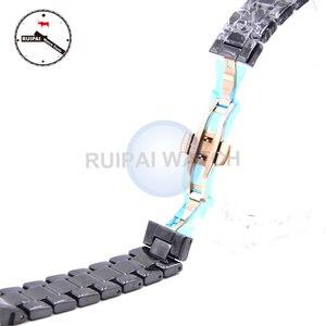 Image 2 - 22mm Homem Pulseira de Relógio de Cerâmica Cor Preta Borboleta Fivela Pulseira Pulseira de Cerâmica para AR1410 AR1400