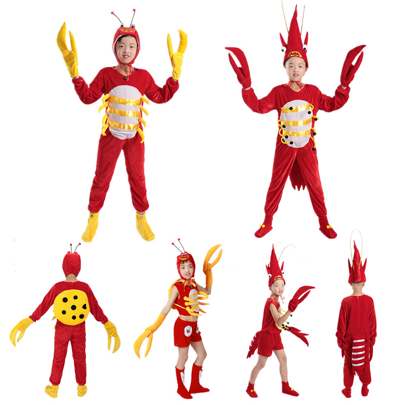 Kid Adult Halloween cosplay party red crab costume lobster costume children animal funny prawns clothes jumpsuit men boy girl