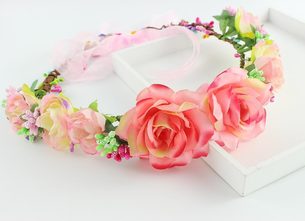 Light peach Bridal rose Flower Headpiece Wedding Hair Accessories Floral Crown Boho Halo Artificial Silk Flower