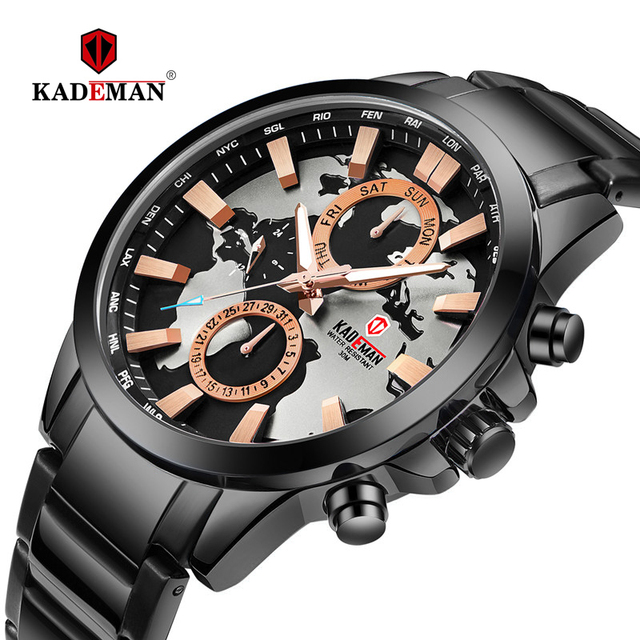 2019 Luxe Heren Horloges Nieuwe Casual Business Quartz Horloge Kaart Ontwerp Sport Horloge 3ATM Volledige Staal Fashion Relogio Masculino