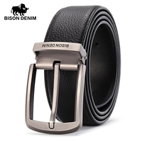 BISON DENIM Brand Leather Belts Men Pin Buckle Male Waistband Black Genuine Leather Men S Belt