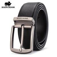 BISON DENIM Brand Leather Belts Men Pin Buckle Male Waistband Black Genuine Leather Men S Belt