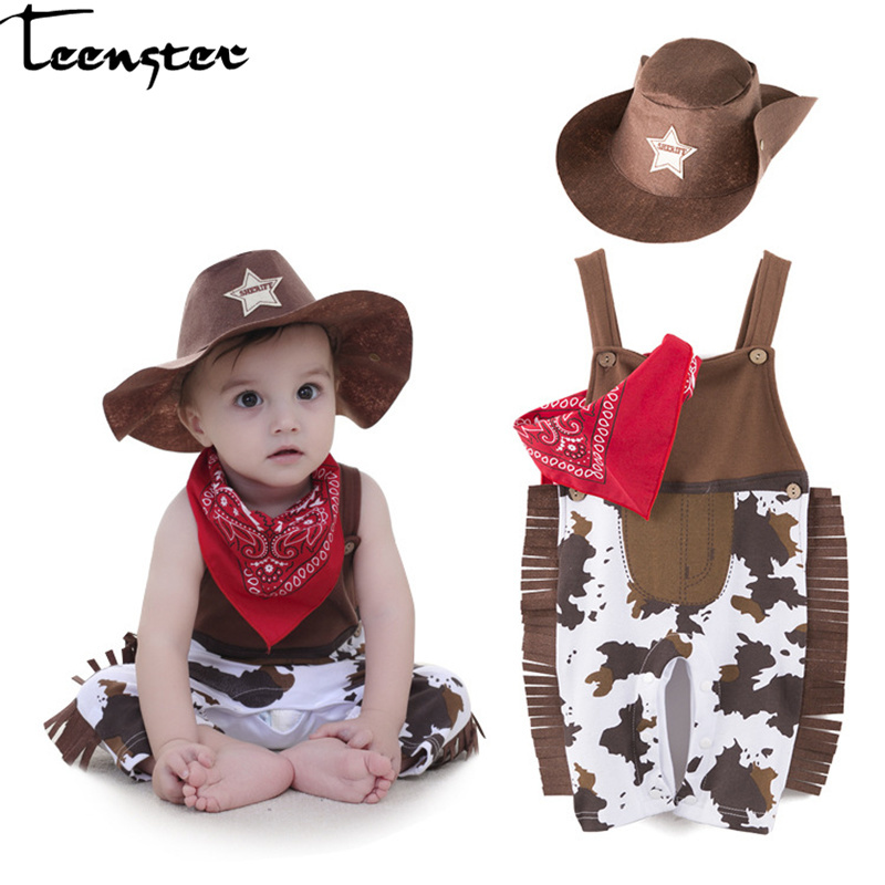 New Born Baby Clothes Fashion Boy   Rompers   with Hat&bib Costume West Cowboy Off Shoulder Toddler Clothes 6 12 18 24 Month
