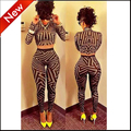 2015 fashion set women two piece outfits pants crop top and pants set long sleeve sexy ensemble  femme vestidosbodycon