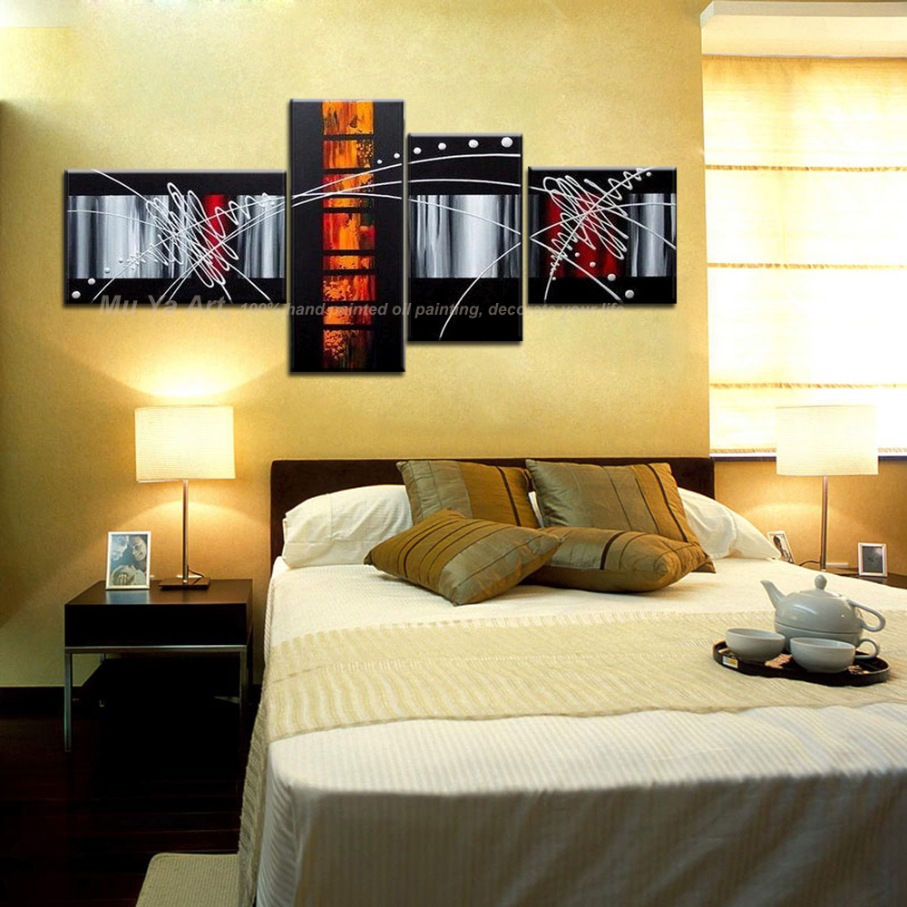 4 piece canvas wall art decorative picture modern abstract acrylic ...