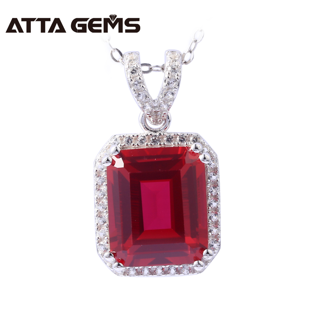 Ruby Sterling Silver Pendants 7.5 Carats Created Ruby Women Pendants Wedding Engagement S925 Necklace Classic Style red ruby sterling silver women wedding band silver ring 2 1 carats created ruby gemstone engagement romantic style rings
