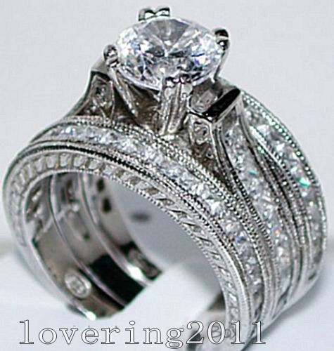 victoria wieck vintage jewelry 6mm topaz simulated diamond 14kt white gold filled 3 wedding band ring